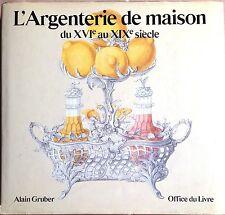 L'ARGENTERIE DE MAISON DU XVI AU XIX SIèCLE. ED. OFFICE DU LIVRE, 1982.