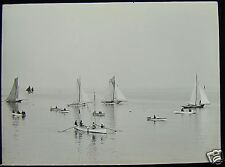 Glass Magic Lantern Slide BOATS & YACHTS ST IVES BAY C1890 PHOTO CORNWALL HAYLE