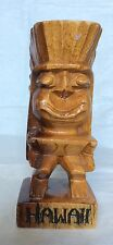 """TIKI STATUE  SOLID WOOD HAND CARVED """"HAWAII"""" Made In Philippines"""