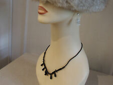 Delightful Black Beaded Choker Chain Necklace - FREE Postage