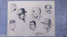dessin signé. Drawing signed belle éqoque caricatures bd 1900-1920