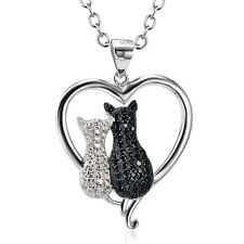 925 Sterling Silver Crystal White&Black Cat Forever Love Heart Couple Necklace