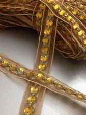 Grano de oro 18mm con estrás cinta ribete de encaje para la elaboración de multi propósito 1 yardas