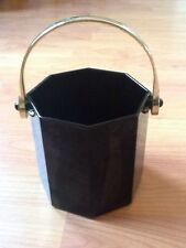 Vintage Arcoroc Octime France Ice Bucket Black Octagon Shanghai Brass Handle