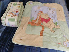 Disney Winnie The Pooh Crib Nursery Set Blanket Bumper Pad ~ USED