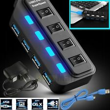 New 4 Port USB 3.0 Hub On/Off Switches + AC Power Adapter Cable For PC Laptop US