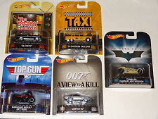 HOT WHEELS RETRO ENTERTAINMENT CASE J 5-CAR SET TAXI BATMAN BOND TOP GUN BRADY