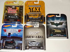 HOT WHEELS RETRO ENTERTAINMENT CASE J 5 CAR SET TAXI BATMAN BOND TOP GUN