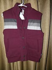 Aeropostale Maroon and Grey Puffer Fleece Vest NWT Size XS Women's