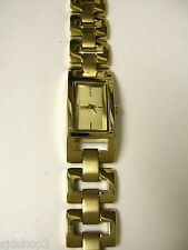(W) DKNY GOLDTONE RECTANGLE BRACELET WATCH NY4651 PRE-OWNED WORKING BATTERY