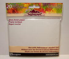 20 Card Size Sheets Gloss Paper for Rubber Stamping - Use w/ Alcohol & Dye Inks