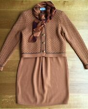 St. John Marie Gray Collection Knit Orange Brown Jacket Skirt 2pc Suit Scarf Sz6