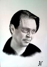 Steve Buscemi - ritratto portrait grafite e carboncino cm. 33 x 48