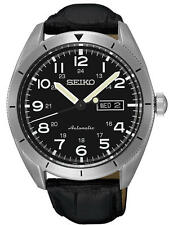 New Seiko SRP715 Automatic Stainless Steel Day Date Leather Strap Men's Watch