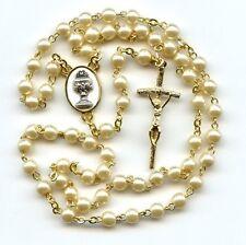Kommunion Rosenkranz Eucharistie Perle/Gold 52cm Mädchen Junge - ROS-K 1020