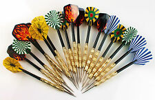 Funny 12 pcs (4 sets) Steel Needle Tip Dart Darts With Nice Flight Flights Games