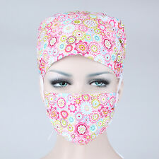 Doctors/Nurses Pink Flowers Printing Surgical Surgery Hat/Cap+Medical Mask Set