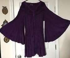 Women's Holy Clothing Purple Ariana Butterfly Embroidered Tunic Top Size 2X