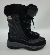 North Face Girls/Kids Nuptse Faux Fur II Boots APJY Shiny Black/Black Size 3