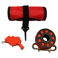 Signal Tube, Reel and Whistle Scuba Dive safety kit, surface marker buoy combo