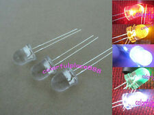 100pcs, 8mm Red Yellow Blue Green White Water Clear Round LED Leds + R for 12V