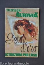 Libretto Istruzioni Uso Televisori Autovox TV Serie Oro Canali Televisione 1956