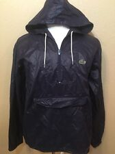 Vintage Izod Lacoste Navy Mens Windbreaker Anorak Rain Jacket Zip Hood SZ Medium