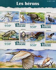 Togo 2015 MNH Herons 4v M/S Egrets Birds Night Purple Heron Great Egret Stamps