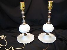 Vintage Pair Matching Milk Glass Hobnail Table Dresser Vanity Lamps Working Cond