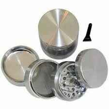 "GENERIC SILVER Four Piece NEW STYLE 2 1/4"" Herb Spice or Tobacco Pollen Grind..."