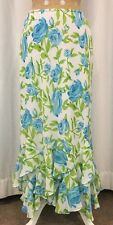 Long Skirt White Multi-colored 14 Floral 100% Poly Straight Asymmetric Ruffles