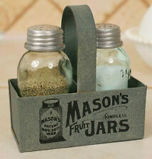 Primitive Mason 1858 Canning Fruit Jar Box with S & P Shakers Barn Roof Gray