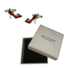 Red High Heel Shoes With Crystals Cufflinks & Gift Box By Onyx Art