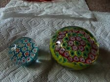 (2) Art Glass Paperweights vintage millefiori canes murano green yellow red blue