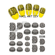 20 Adesivi per unghie con Pizzo Nero-Nail Art Stickers-Decals water transfer!