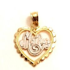 10 K Yellow Gold Mother In Heart Charm Pendant .92g