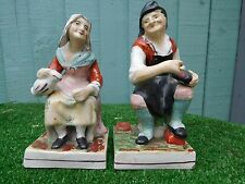 SUPERB PAIR 19thC STAFFORDSHIRE COBBLER & HIS WIFE FIGURINES c1880s