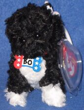 TY BEANIE BABY KEY CLIPS - BO the DOG - WHITE KEY CLIP - MINT with MINT TAGS