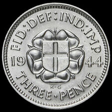 1944 George VI Silver Threepence,Very Rare, (ESC R2), Uncirculated