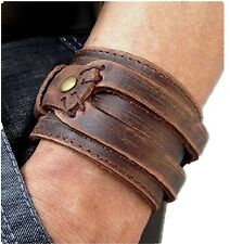 Brown Leather Men's Cuff Bracelet Wristbands Handcrafted Jewelry Gift