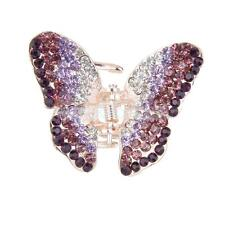 Small Diamante Butterfly Hair Claw Clip Grip Clamp Purple