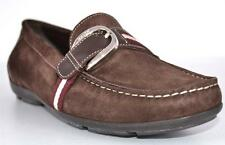 New Bally Switzerland Brown Tuxa Suede Web Stripe Loafers Shoes 10.5 41