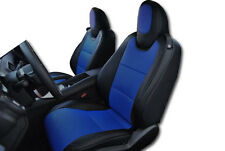 CHEVY CAMARO 2010-2015 BLACK/BLUE LEATHER-LIKE CUSTOM FIT FRONT SEAT COVER