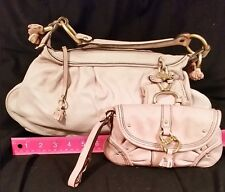 Juicy Couture Pink Leather Shoulder Bag (faded) And Matching Leather Wristlet