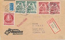 80/1+84 / Wunderschöner Reco-Brief mit 2x Tag der Briefmarke + 20 Pf. Glocke re.