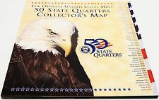 Official US Mint State Quarter Map Album Folder Includes State Flower Bird More