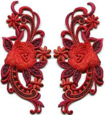 Red orange roses flowers pair boho retro 60s appliques iron-on patches S-1270