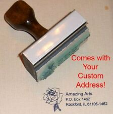 Rose Rubber Stamp With Your Custom Address- Beautiful!