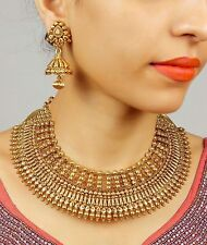2187 Indian Bollywood Design Gold Plated Bridal Polki Necklace Fashion Jewelry