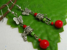 Pair Tibetan Carved Butterfly Spin Prayer Wheel Red Coral Beaded Amulet Earrings